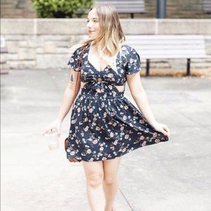 Floral Cut-Out American Eagle Dress